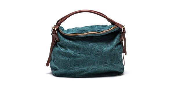 Dámska vzorovaná kožená kabelka v tyrkysovej farbe Mangotti
