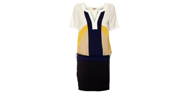 Dámske čierno-modro-biele šaty Lucy Paris