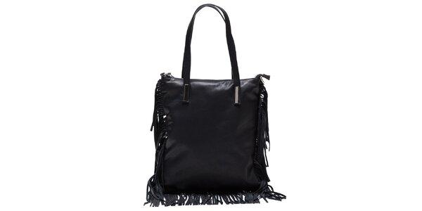 Dámska čierna kožená kabelka so strapcami Mangotti