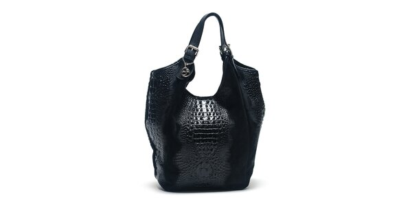 Dámska čierna kožená taška s krokodílim vzorom Carla Ferreri