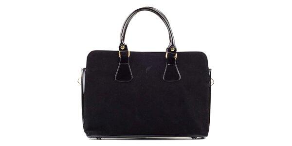 Dámska čierna semišová kabelka s lakovanými prvkami Felice