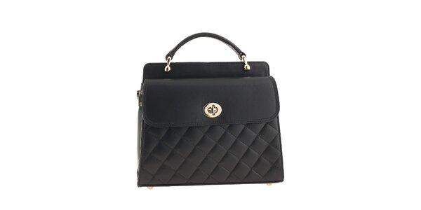 Dámska čierna prešívaná kabelka z kože Classe Regina