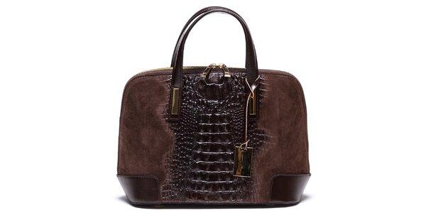 Dámska hnedá kabelka so vzorom krokodílej kože Mangotti