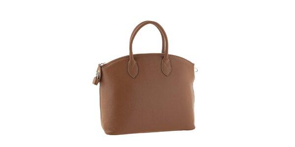 Dámska hnedá kožená kufríková kabelka Classe Regina