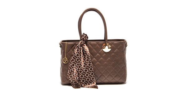 Dámska hnedá kožená prešívaná kabelka so šatkou Carla Ferreri