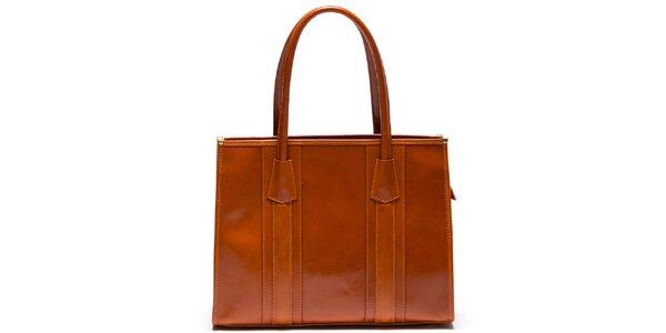 Dámska kožená kabelka s pevnými ušami vo svetlo hnedej farbe Mangotti
