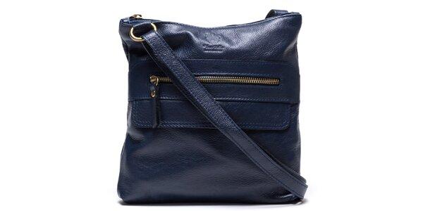 Dámska modrá kožená kabelka so zipsovými vreckami Mangotti