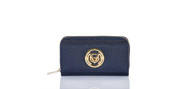 Dámska modrá peňaženka s dekoratívnym prvkom Giorgio di Mare