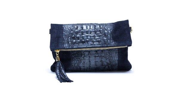Dámska modrá vzorovaná kabelka so strapcom Mangotti