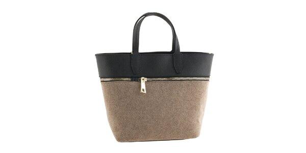 Dámska svetlo hnedá kabelka so zipsom Classe Regina