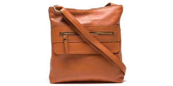 Dámska svetlo hnedá kožená kabelka so zipsovými vreckami Mangotti