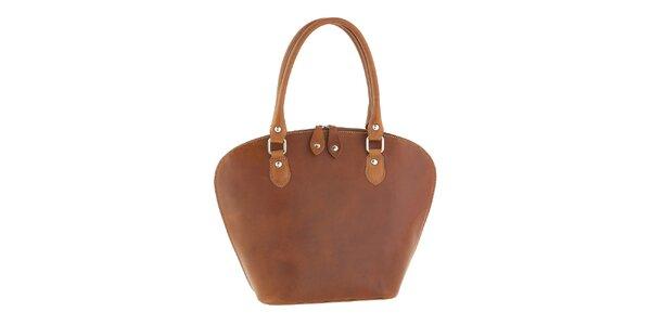 Dámska svetlo hnedá kožená kabelka v tvare košíka Classe Regina