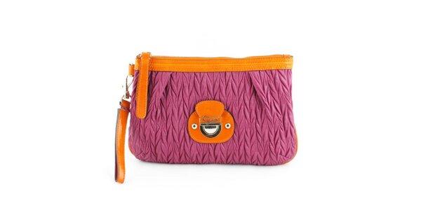 Dámska fialová kabelka Guess s oranžovými detailami
