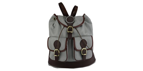 Dámsky šedý kožený ruksak Giulia