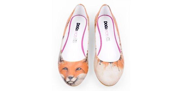 Dámske balerínky s motívom záhadnej líšky Dogo