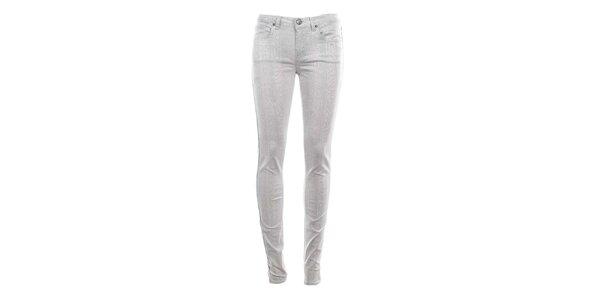 Dámske biele džínsy s haďou potlačou Fuga