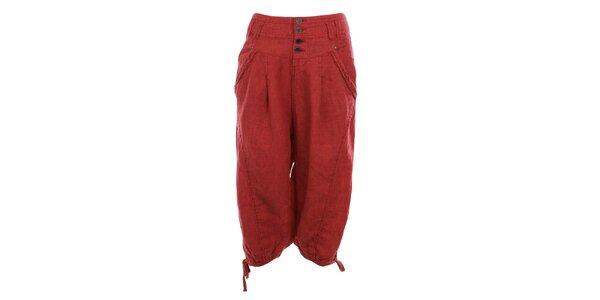 Dámske čevené ľanové capri nohavice Timeout