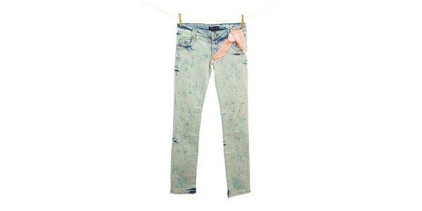 Dámske modré sprané džínsy so šatkou Fuga