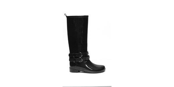 Dámske čierne vysoké čižmy s dvojitou cvokovanou prackou Favolla