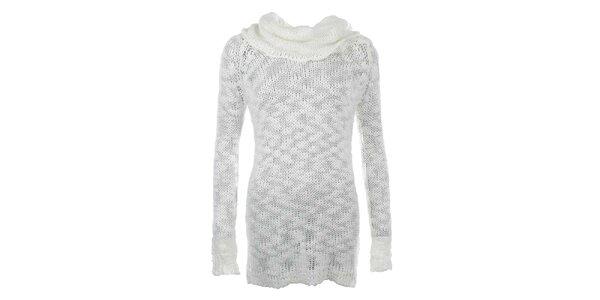 Dámsky biely dlhší sveter s rolákom Big Star