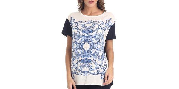 Dámske biele tričko s modrou potlačou Galvanni