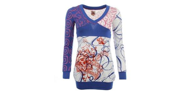 Dámske modro-biele vzorované tričko Dislay DY Design