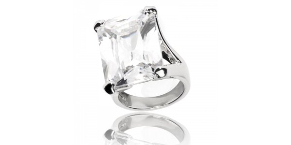 Dámsky prsteň Bague a Dames s bielym kryštálom