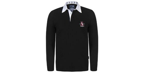 Pánske čierne polo tričko s bielym límčekom Giorgio Di Mare