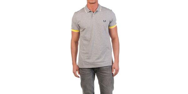 Pánske šedé polo tričko so žltými detailmi Fred Perry