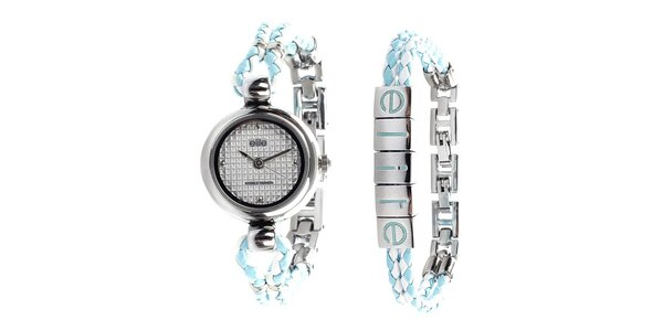 Dámske minimalistické hodinky a tyrkysovo-biely náramok Elite