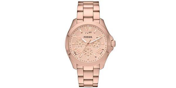 Dámske oceľové hodinky vo farbe ružového zlata Fossil