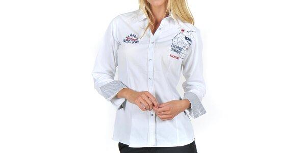 Dámska biela košeľa s výšivkami Giorgio Di Mare