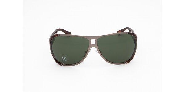 Pánske šedo-hnedo žíhané slnečné okuliare Calvin Klein