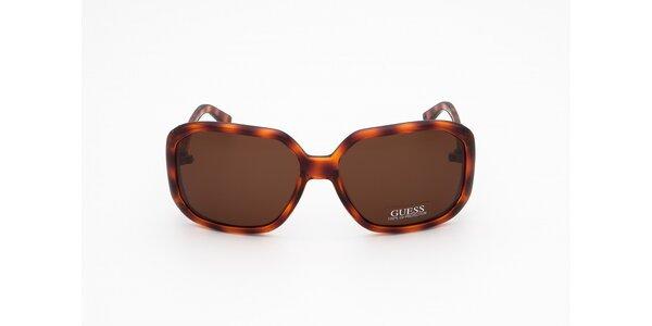 Dámske jantárovo hnedé slnečné okuliare Guess