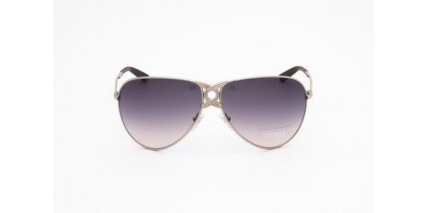 Dámske strieborno-fialové slnečné okuliare Guess