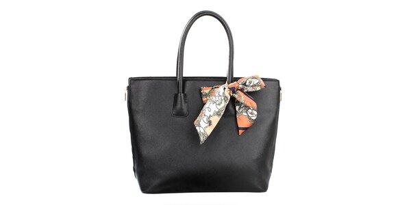 Dámska čierna kabelka so šatkou Gessy