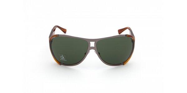 Pánske jantarovo-šedé slnečné okuliare Calvin Klein
