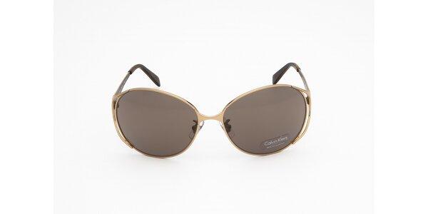 Dámske zlato-hnedé slnečné okuliare Calvin Klein