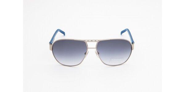 Dámske strieborno-modré slnečné okuliare Guess