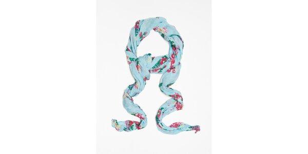 Dámska svetlo modrá šatka s kvetinkovým vzorom Bella Rosa