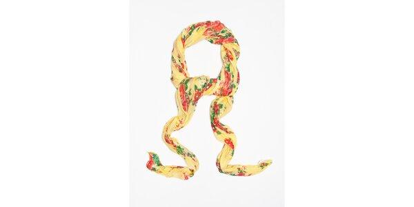 Dámska svetlo žltá šatka s kvetinkovým vzorom Bella Rosa