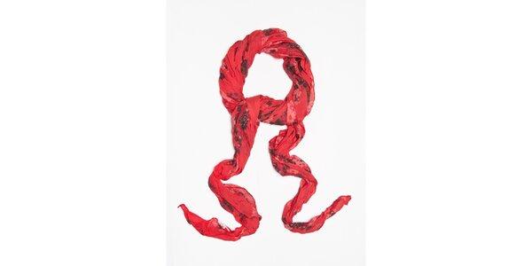 Dámska červená šatka s kvetinkovým vzorom Bella Rosa