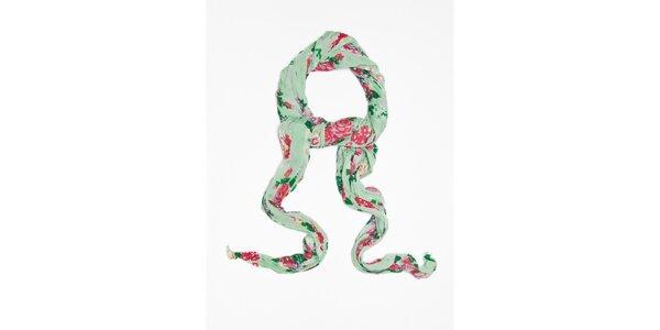 Dámska svetlo zelená šatka s kvetinkovým vzorom Bella Rosa