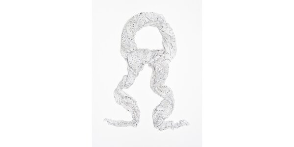 Dámska biela šatka s futuristickými kvetinami Bella Rosa