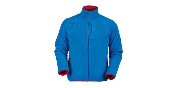 Pánska tmavo modrá fleecová mikina s červenými lemami Izas