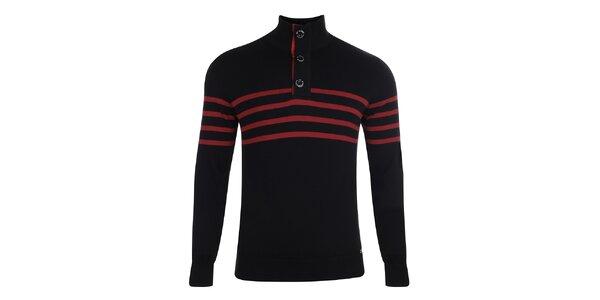 Pánsky čierny sveter s červenými prúžkami Giorgio di Mare