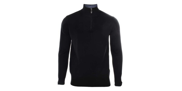 Pánsky čierny sveter so stojačikom na zips Timeout