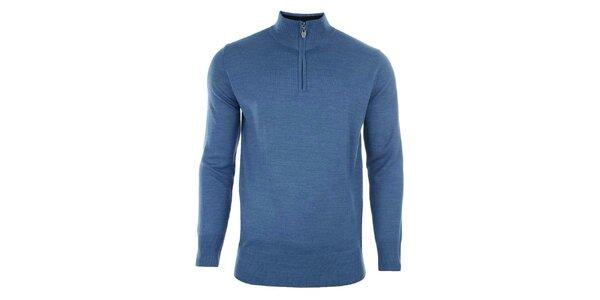 Pánsky modrý sveter so stojačikom na zips Timeout