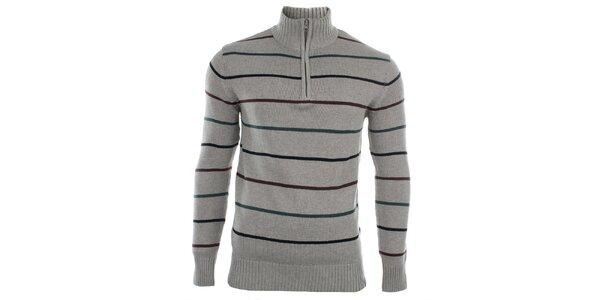 Pánsky šedý sveter s vodorovnými prúžkami big Star