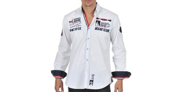 Pánska biela košeľa s námorníckou tématikou Giorgio di Mare